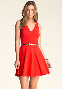 FIT & FLARE KEYHOLE DRESS at bebe