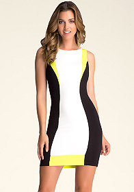bebe Contrast Boatneck Dress