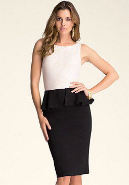 Peplum Midi Dress at bebe
