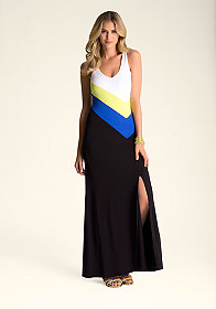 Multi-Stripe Maxi Dress at bebe
