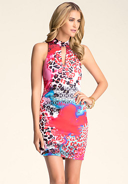 bebe Mock Neck Cutout Dress