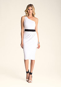 bebe One Shoulder Ponte Dress