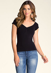 bebe Ruched Front Raglan Top
