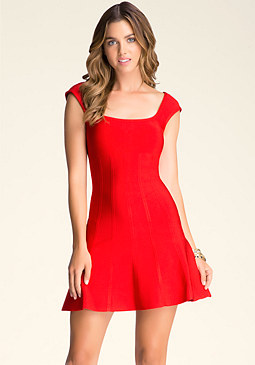 Fit & Flare Sweater Dress at bebe