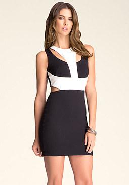 bebe Y-Strap Cutout Dress