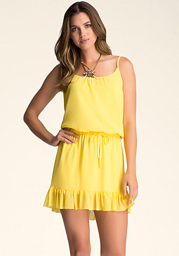 bebe Cami Dress With Ruffle Hem