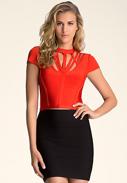 bebe Cut Out Bandage Top