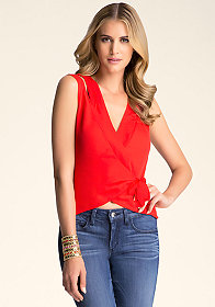 bebe Cutout Shoulder Silk Top