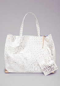 bebe Leather Croc Tote