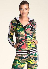 bebe Camouflage Hoodie Jacket