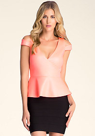bebe Short Sleeve Peplum Top