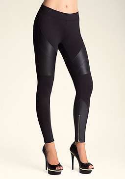 bebe Faux Leather Inset Leggings