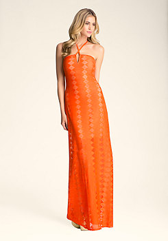 bebe Petite Lace Maxi Dress