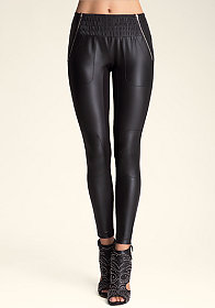 PANEL MOTO LEGGINGS at bebe