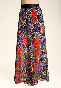 bebe Printed Double Slit Skirt