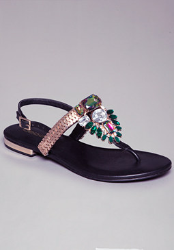 ZELI CHAIN JEWELED SANDALS at bebe