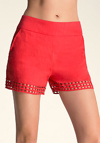 bebe Cage Trouser Shorts