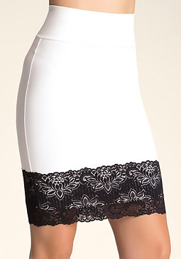 bebe Lace Trim Pencil Skirt