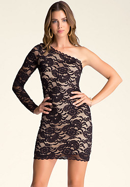bebe One Shoulder Lace Dress