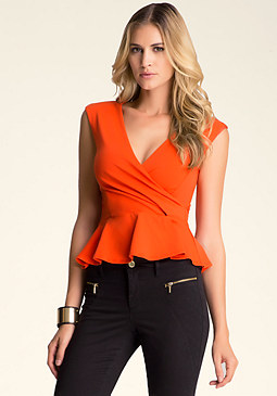 bebe Surplice Peplum Top