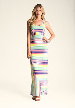 bebe Patch Stripe Maxi Dress ����