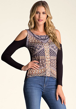 PRINT COLD SHOULDER TOP at bebe
