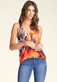 bebe Draped Knot Back Top