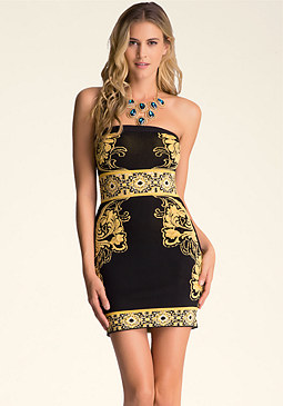 bebe Strapless Jacquard Dress