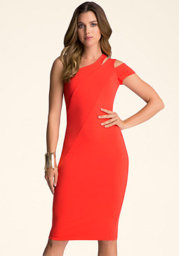 bebe One Shoulder Midi Dress