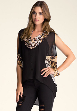 bebe Cowl Neck Button Down Tunic