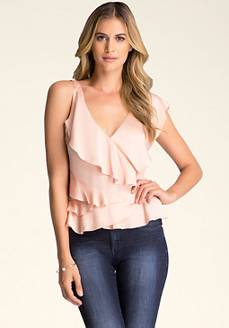 bebe Sleeveless Ruffle Top