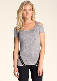Cold Shoulder Sweater Top at bebe