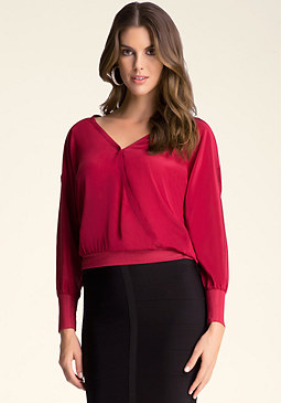 bebe Silk Dolman Sleeve Top