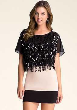 bebe Sequin Crop Top