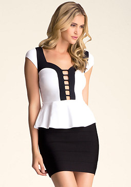 bebe Colorblock Peplum Top