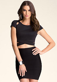 bebe Short Sleeve Crop Top