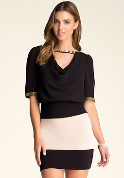 bebe Slit Embellished Top