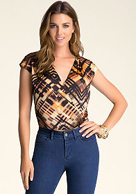 bebe Asymmetric Surplice Top
