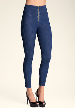 bebe Stacked Waist Skinny Jeans