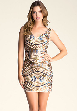 bebe Double V-Neck Sequin Dress