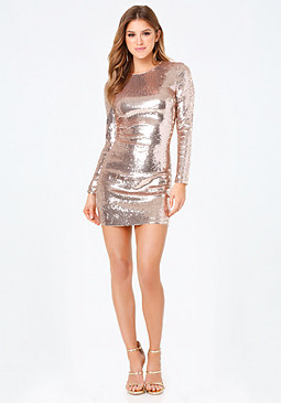 bebe Allover Sequin Dress