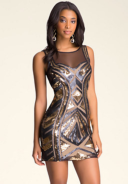 bebe Deep Back V Sequin Dress