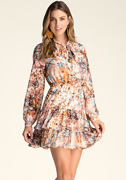 PRINT RUFFLE TIER DRESS at bebe
