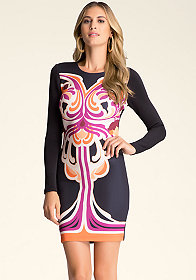 PRINT BODYCON DRESS at bebe