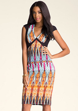 PRINT BLOCK MIDI DRESS at bebe