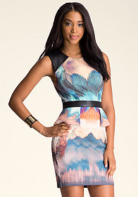 bebe Print Scuba Peplum Dress