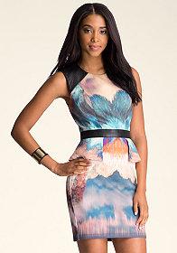 bebe Print Scuba Peplum Dress
