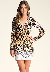 PLUNG V-NECK LEOPARD DRESS at bebe