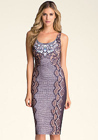 EMBELLISHED PRINT DRESS at bebe