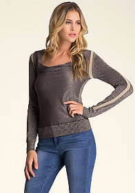 bebe Contrast Shine Sweater